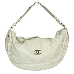 Chanel White Caviar Leather Ligne Outdoor Hobo
